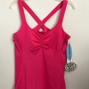 LUCKY IN LOVE Sz M Pink / Berry Athletic Tank Top